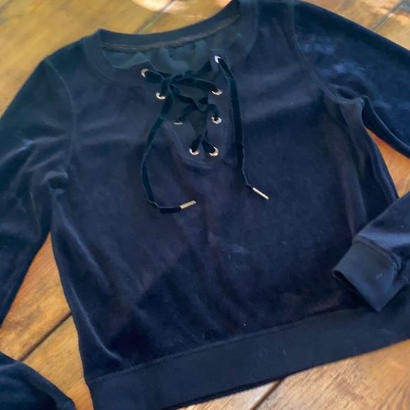 Betsey Johnson Womens Laced Back Sweatshirt